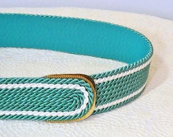 "Rope Belt Vintage Belt Guto West Germany Cord Rope Cinch Belt Minty Green 31"" Waist Belt"