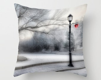 Lampost in Winter Photo Throw Pillow Cover, home decor, photo pillow, black, white,  nature, lamp-post, cityscape decor