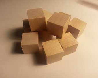 "1"" Wood Cube - Set of 10 - Wooden Square - 1 inch Wood Cubes - Unfinished - Wood Round - Craft Cubes Wood Parts"