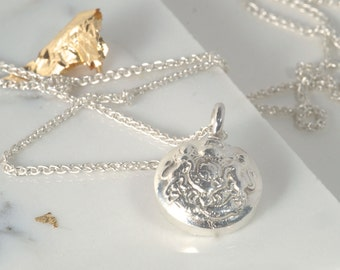 Handmade Sterling Silver Vintage Military Crest Pendant Necklace - Item in stock for quick delivery