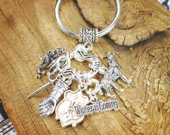 Game of thrones keychain , silver charms and key ring a great gift or stocking stuffer