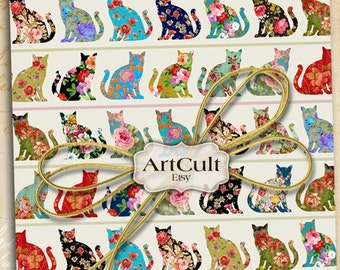 Wrapping Paper Digital Download GROOVY CATS Printable Collage Sheets for Gifts, Scrapbooking paper ephemera supply, Art Cult designs