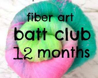 Batt Club -12 month subscription- merino wool, sparkle, luxe add ins -receive one of a kind colorway & blends to spin or felt by Pixie Spins