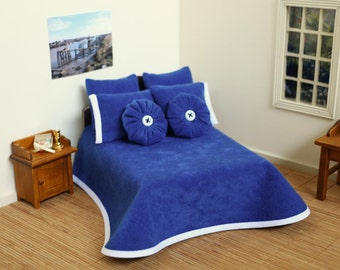 1:12 Scale Doll house 7 Piece Royal Blue Bed Cover Set, Doll house Miniatures