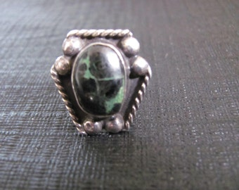 Vintage Sterling Silver and Black Stone Ring Size 6