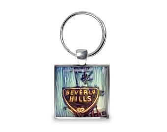 Beverly Hills California - Glass Photo Keychain - Handmade