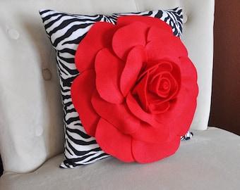 16x16 Pillow - Red Rose on Zebra Pillow