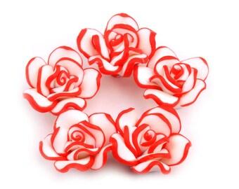 10 Roses, plastic (FIMO),red, 2 cm (1308)