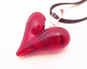 Valentine's Day - Glass Heart Necklace, Blown Glass Pendant