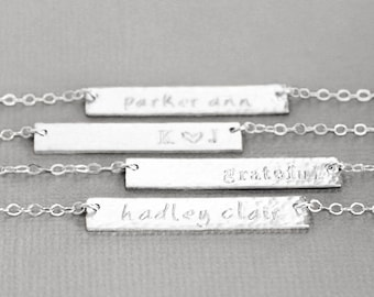 Nameplate Necklace, Custom Name Necklace, Sterling Silver Name Bar, Horizontal Bar, Hand Stamped Personalized Jewelry