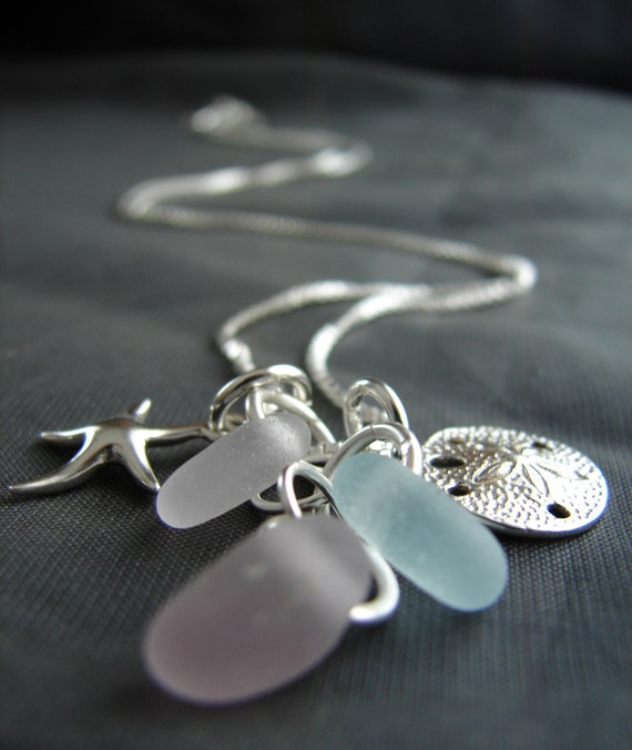 Ocean sea glass necklace in lilac, white and soft pink