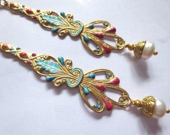 Art Nouveau earrings Art Deco earrings 1920s earrings Edwardian vintage style very long earrings real pearl earrings