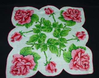 Lovely Big Vintage Hanky, Handkerchief Bermel Label Irish Linen Red Roses Unused