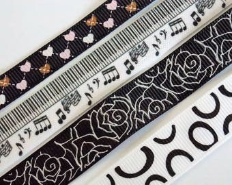 1 meter black and White Ribbon with various patterns
