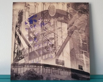 US Cellular Field - Black and White Photography - Wood Panel