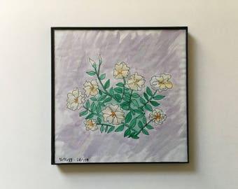 28/100: flowers - original framed watercolor illustration