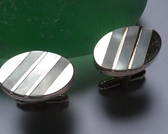 Silver Tone Mother of Pearl Inlay Cuff links