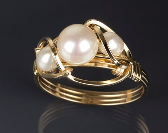 White pearl ring, Gold, Rose gold, Argentium silver, Pearl ( June birthstone ), Pearl jewelry, Art jewelry, Wire wrapped jewelry