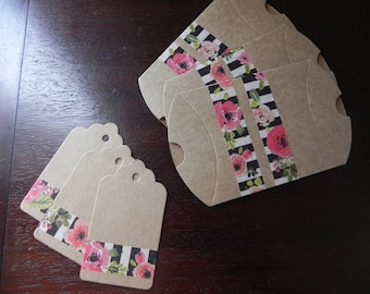 3 cartons decorated with flower pattern measuring 9 x 7 cm