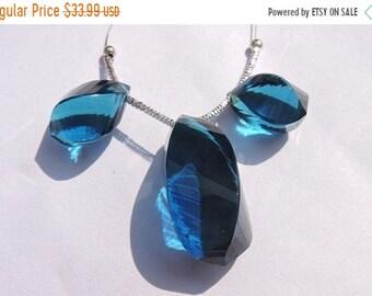 25% OFF Summer Sale 3 Pcs Set Beautiful Teal Blue Quartz Faceted Twisted Long Drops Briolette Size 26*15 - 19*10 MM