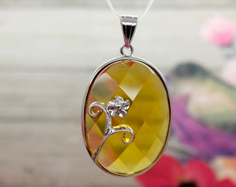 Natural Citrine Pendant Citrine Faceted Oval Gemstone Pendant Silver Plated