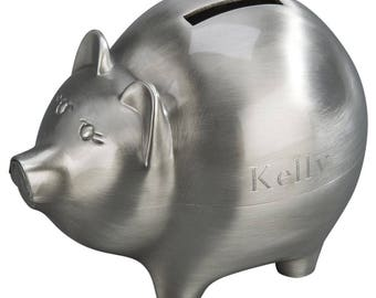 Piggy Bank, Pig Bank, Large Size, matte brushed finish  Finish, Personalized with  Free Engraving