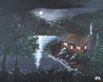 Moonlight reflection mountain lake cabin landscape