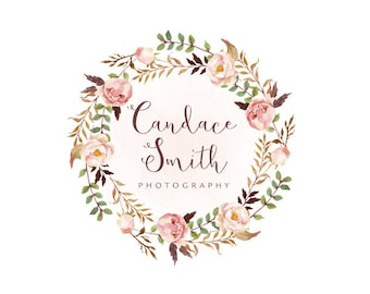 Floral wreath logo premade logo design and watermark photography logo boutique logo bohemian logo watercolor logo