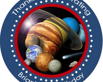 Outer Space Solar System Birthday Party Favors Personalized Stickers Many Sizes