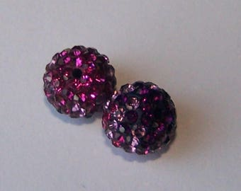 bi color pink & purple shamballa beads 10mm making