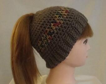 Brown Messy Bun Hat - Brown Bun Hat - Bun Hat - Messy Bun Hat - Brown Ponytail Hat - Ponytail Hat - Women's Bun Hat