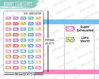 00120 | 50 Drain Battery Charge Gadget Recharge Electronic Cute Kawaii Planner Agenda Diary Journal Schedule Reminder Scrapbook Stickers