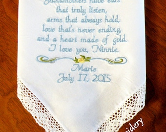 Embroidered Wedding Handkerchief for Grandma Wedding Gift for Grandma Gift for Grandmother Nana Wedding Gifts by Canyon Embroidery