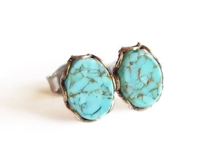 Tiny Turquoise Stud Earrings Small Vintage Glass Faux Gemstone Eco-Friendly Light Blue Studs Turquoise Post Earrings Hypoallergenic
