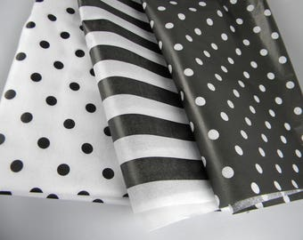 Black and White Tissue sheets |  pattern tissue paper | Polka Dots and Stripes | Gift Wrap Tissue Paper | Paper Crafts | 24 sheets