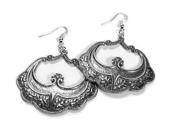 Art Nouveau Silver Earrings, ORNATE Hoop Earrings, Boho Earrings, Gypsy Earrings, Tribal Earrings, Mothers Day Gift - Steampunk Boutique