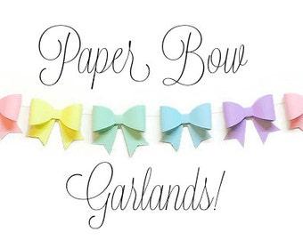 Handcrafted Paper Bow Garland, Easter Garland, Modern Nursery, Baby Shower Decor, Cake Smash Background