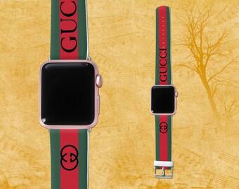 Gucci iWatch Apple Watch Band Gucci Logo Apple Watch Leather Watchband Gucci accessories iWatch 38mm Apple Watch 42mm iWatch band Gucci