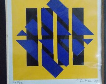 Dutch signed limited edition screenprint on paper/ orginal 1980s European print / 80s abstract geometric wall art