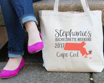 Massachusetts Personalized Bachelorette Tote Bag // Boston // Cape Cod // Personalized Tote Bag Birthday Party/ Bachelorette// Map Tote Bag