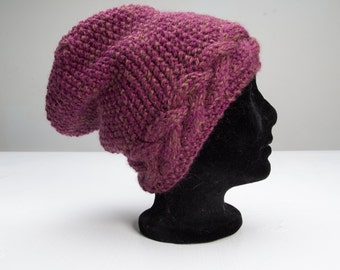 Hand knit hat - cable, texture, deep purple - slouchy