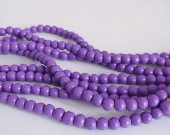 100pcs Purple Glass Beads 4mm - Jewelry Making Supplies - DYGB-037