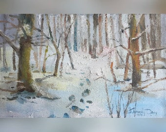 Winter Painting, Trees Painting, Painting, Landscape Painting, Oil Painting, Original Oil Painting, Gift For Mother, Rustic Home Decor