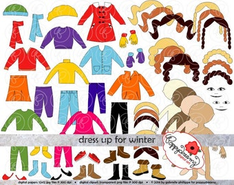 Dress Up for Winter Clothing and Paper Doll Clipart Set: Digital Clip Art Pack (300 dpi) Coat Glove Hat Boots Mittens Scarf Pajamas