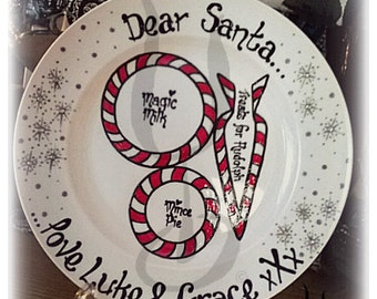Christmas Eve plate, Handpainted, personalised polycarbonate (unbreakable) Christmas tradition, Candycane design