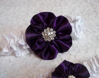 Deep Purple Wedding Garter Set, Rose in Deep Plum on a White Band, Bridal Garter Set, Wild Rose Garter - Five Petal Rose Flower