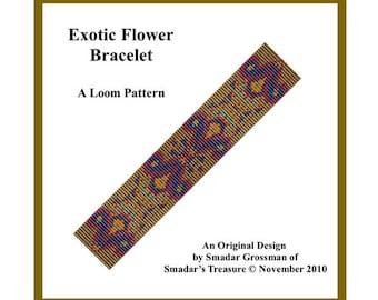 Bracelet Beading Pattern, Loom Stitch / Exotic Flower / Intricate Design for Loom. Instant Digital Download PDF Jewelry Making Loom Pattern