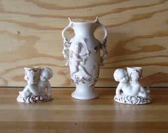 Cherub Vase and Candle Holders, Ivory and gold vase set