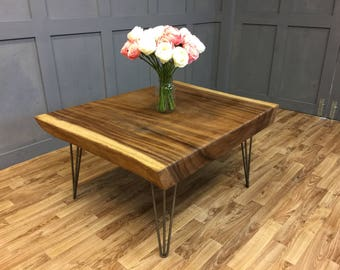 Live Edge Coffee Table with hairpin legs industrial Vintage Retro