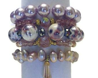 Five Pink & Lavender Beaded Stack Bracelets, Stretch Bracelet Set, Boho Beaded Bracelets, Bohemian Bracelets, Stackable Bracelets